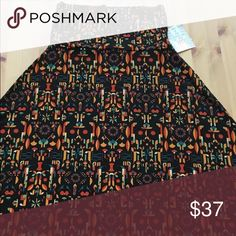 NEW with Tag Maxi black background w print. NEW with Tag Maxi black background with colorfulprint. Price is Firm. LuLaRoe Skirts Maxi