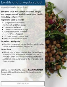 LIBIDO RECIPES: Lentils and arugula salad | Goachi