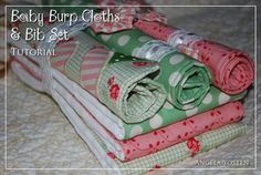 4 F.Q. 's , 3 Cloth diapers 1/2 yd pellon fusible fleece, ribbon or trim for bib strap....  Moda Bake Shop: Baby Burp Cloths & Bib Set