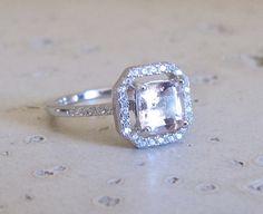 Square Morganite Ring Engagement Ring Bridal Ring by Belesas