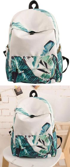 e282c83c49 Fresh Green Banana Leaves Large Bag Capacity Canvas School Backpack