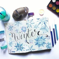 Winter spread bullet journal