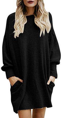 778bb45b89 Women Long Tops Dress BeautyVan Women Casual Crewneck Pocket Long Sleeve  Loose Tunic Sweater at Amazon Women s Clothing store