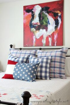 Savvy Southern Style: All American Summer Guest Room, 4th of July decor, Pottery Barn pillows, French Laundry Home pillows, flag pillow, red white and blue, patriotic