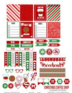 Christmas Coffee Shop Planner Stickers - Free Printable by Erica Starling Carroll To Do Planner, Free Planner, Happy Planner, Planner Ideas, 2015 Planner, Blog Planner, Weekly Planner, Printable Planner Stickers, Christmas Stickers Printable