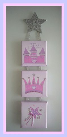 personalized hand painted wall canvas initial princess crwon with