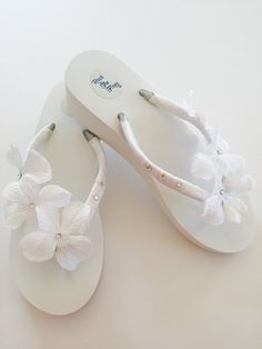 White Bridal Flip Flops Wedding Shoes Sandals Beach Bridesmaid