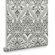 Glamour Damask Black and White Wallpaper