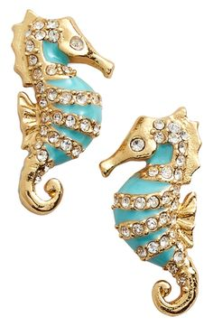 These darling turquoise-enameled seahorse studs dusted with white crystals are a preppy summer jewelry-box staple.