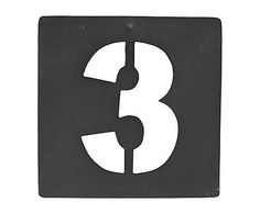 Chiffre décoratif pochoir n° 3, fer galvanisé - H10