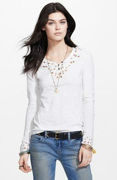Free People 'Blue Luna' Embroidered Cutout Top available at #Nordstrom
