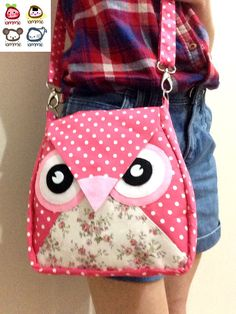 Pinka Dot : Flip Bag Owl Bag flower messenger by iammieCozyShop