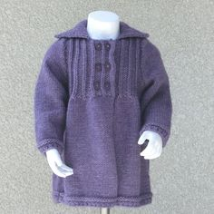 Manteau - taille 2 ans / 24 mois - mode enfant bébé fille - tricoté main - laine violet - cadeau fête anniversaire rentrée