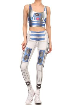 Blue Robot Crop Top - POPRAGEOUS  - 4