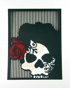 Cut Paper Sugar Skull Day of the Dead Layered by MinksPaperie, $40.00