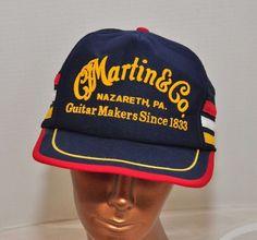 Vintage CF Martin Guitars Pa. Trucker Mesh Snapback Hat Ball Cap Blue #Cap