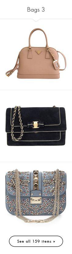 """Bags 3"" by megan-foy-gg ❤ liked on Polyvore featuring bags, handbags, prada handbags, beige satchel handbag, beige leather purse, genuine leather handbags, real leather purses, shoulder bags, black and salvatore ferragamo handbags"