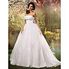 A-line Princess Strapless Sweep/Brush Train Tulle Wedding Dress - USD $ 199.99