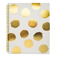 Large Polkadot Notebook will make you write with style. 100 pages. Dimensions: 11 x 9 inches Polka Dot Notebook by Sugar Paper. Home & Gifts - Gifts - Stationery & Office Miami, Florida Desk Stationery, Stationary, Rifle Paper Company, Cute Notebooks, Journals, Gold Polka Dots, Office Accessories, Grey And Gold, Gold Foil
