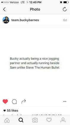 "Bless Bucky for not being like his best friend Steve ""The Human Bullet"" Rogers"