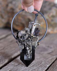 Skull Pendant, Realistic Rocks Pendant, Sword Pendant, Realistic Bones Pendant
