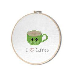 I Love Coffee Cross Stitch Pattern Cute Kawaii by StompCreations