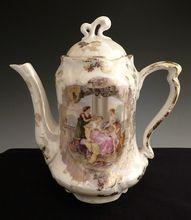 Antique tea pot Greek portrait toy tea demitasse RS Prussia plate 509