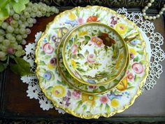 c1891-1932 Antique Teacup Tea Cup Trio -  Ovington - Hammersley Chintz -