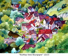 Rooftop View, Bourgogne, 12x15 Marie Gabrielle