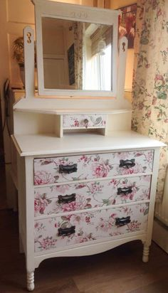 STUNNING dressing table/nightstand vintage upcycled decoupaged shabby chic floral cottage chic by JulesBlossom on Etsy