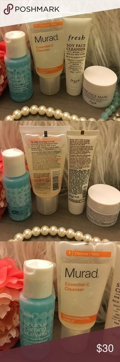 💙Face Cleanser and Face Mask Bundle Bundle of 4 brand new travel size products from Sephora and Ulta. Includes: 💜Bliss Fabulous Foaming Face Wash 2-in-1 Cleanser and Exfoliator (1oz); 💜Murad Essential-C Cleanser (1.5oz); 💜Fresh Soy Face Cleanser (0.6oz); 💜Fresh Rose Face Mask (0.5oz) ❤️Free samples with purchase! Sephora Makeup