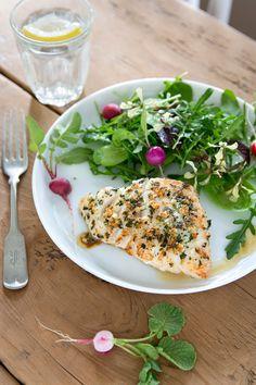 halibut with lemon herb salt - about 300 cals per serving.  Delicious!