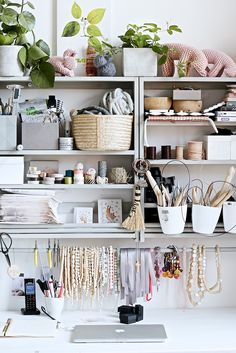 Dreamy studio space of Annette Grolle. Love the function of these shelves but also the colour palette, so soothing.