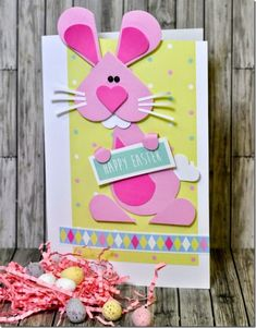 Crafting ideas from Sizzix UK: Happy Easter bunny card Paper Punch Art, Cricut Cards, Mother's Day Diy, Unique Cards, Easter Crafts For Kids, Crafty Craft, Scrapbook Cards, Scrapbooking, Diy Cards