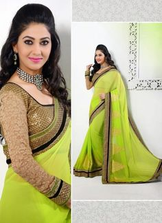 Lemon Green Faux Georgette Border Saree With Matching Blouse