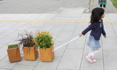 コロコロ移動するプランター。The planter in which a walk can be taken together.