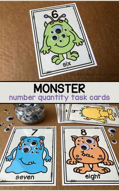Monster Number Quantity Task Cards | Preschool Play