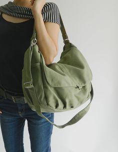 Daniel in smoke green - canvas - zipper closure / Shoulder diaper bag / Messenger. $49.00, via Etsy.