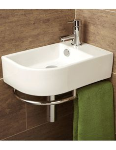 Buy this stylish HIB Malo Temoli Cloakroom Basin With Towel Rail at discounted rate. Manufacturing Code of this Cloakroom Basin is Cloakroom Basin, Downstairs Cloakroom, Cloakroom Ideas, Lavabo D Angle, Understairs Toilet, Small Toilet Room, Cloakroom Toilet Small, Small Downstairs Toilet, Corner Toilet