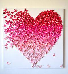 3D Rosa Ombre Schmetterling Herz Kunst - KUNDENSPEZIFISCH KONFEKTIONIERT   Hunderte von Schmetterlingen in Schattierungen von Rosa kommen zusammen auf der Flucht, ein Herz zu bilden. Schmetterlinge aus Cardstock Qualität gefertigt und wurden angehängte eins nach dem anderen auf eine Künstlerleinwand weiß lackiert.  Füge einen romantischen und Spaß modernen Touch zu jedem möglichem Raum in Ihrem Haus -, Schlafzimmer, Kinderzimmer, Kinderzimmer, Spielzimmer, etc.. Einzigartige und berührend…