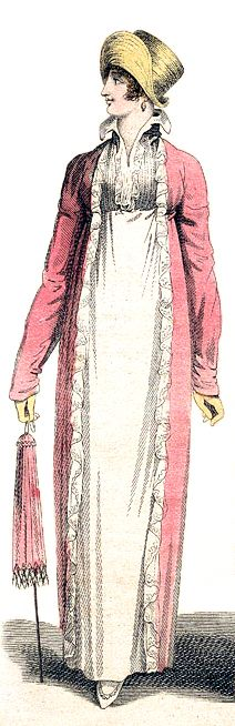 Promenade Dress, July 1809. Regency Dress, Regency Era, Vintage Dresses, Vintage Outfits, Old School Fashion, Period Outfit, Empire Style, Historical Clothing, Fashion Plates