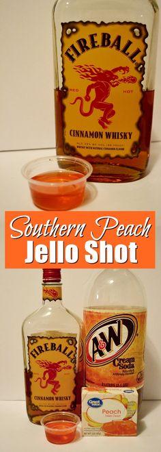 Southern Peach Jello Shot Recipe ft Fireball Southern Peach Jello Shot, an easy jello shot recipe made with Fireball whisky, peach jello and cream soda. Basically a cinnamon peach jello shot. Peach Jello Shots, Malibu Jello Shots, Fireball Jello Shots, Best Jello Shots, Jello Pudding Shots, Fireball Recipes, Jello Shot Recipes, Party Recipes, Easy Shot Recipes