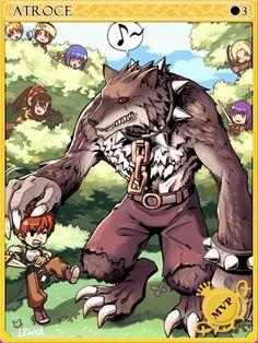 Atroce Card - Ragnarok Online Ragnarok Card, Online Cards, Monster Cards, Monster Design, Design Reference, Werewolf, Best Games, Game Art, Manhwa