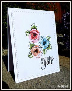 "cross-stitch die: MB,  ""Painted Flowers"": Altenew, flower sketch, djkardkreations:"