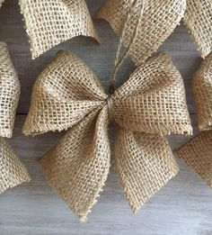 PERFECT Burlap Bow Tutorial I had no idea how to make bows before this. Super clear, step-by-step directions and pictures.Welcome to Ideas of Simply Sweet DIY Burlap Bow article. In this post, you'll enjoy a picture of Simply Sweet DIY Burlap Bow des Rustic Christmas Ornaments, Country Christmas Decorations, Ribbon On Christmas Tree, Christmas Bows, Burlap Ornaments, Etsy Christmas, Garland For Christmas Tree, Christmas Tree Pinecones, Christmas Christmas