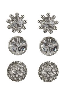 Fireball and Rhinestone Earring Trio available at #Maurices