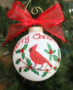 Christmas Cardinal Ornament Handpainted by FlutterbyConnections, $19.95