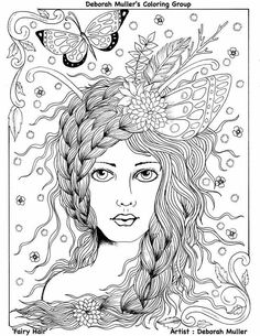 5 Pages Fairies Digital Downloads Instant Coloring Pages Fairy Hair