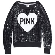 PINK Bling Crew Sequin (1,520 MXN) ❤ liked on Polyvore featuring tops, shirts, sweaters, sweatshirts, intimates, loungewear, sleep and victoria's secret