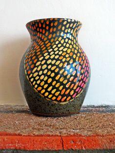 Graphic upcycled vintage English vase by HistoriaAnimalium on Etsy